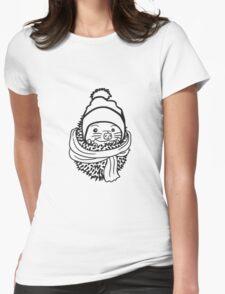 schal mütze kalt frieren winter herbst wärmen baby comic cartoon süßer kleiner niedlicher igel kugel  Womens Fitted T-Shirt