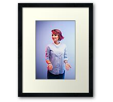 young woman wearing modern glasses  Framed Print