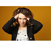 furious young woman with her hair  Photographic Print