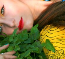 Attractive woman lying in the green grass Sticker