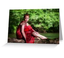woman wearing a red dress on the river Greeting Card