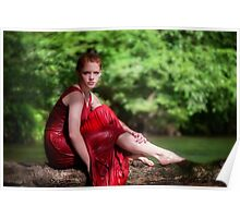 woman wearing a red dress on the river Poster