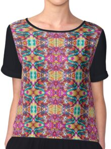 Turquoise Pink Gold Repeating Pattern Chiffon Top