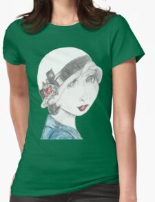 Art Deco Inspired Flapper In Reds and Blues Womens Fitted T-Shirt