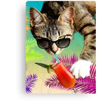 Cat is drinking a cocktail Canvas Print