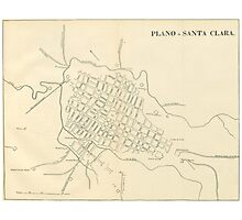 Vintage Map of Santa Clara Cuba (1899) Photographic Print
