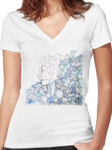 Abstracted Female Portrait Women's Fitted V-Neck T-Shirt