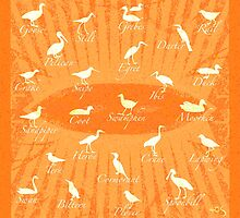 Waterbirds Silhouette - orange - tote/pillow by 40degreesSouth