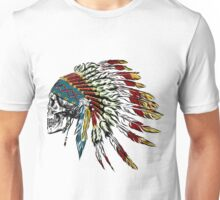 Skull in Indian feathers. Unisex T-Shirt