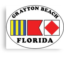 GRAYTON BEACH FLORIDA EURO OVAL NAUTICAL FLAG  Canvas Print