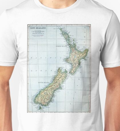 Vintage Map of New Zealand (1921) Unisex T-Shirt
