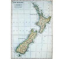 Vintage Map of New Zealand (1921) Photographic Print