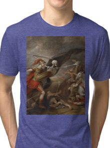 Joshua at the battle of Ai attended by Death by John Trunbul Tri-blend T-Shirt