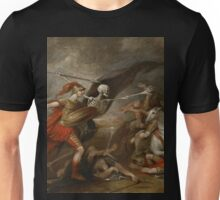 Joshua at the battle of Ai attended by Death by John Trunbul Unisex T-Shirt