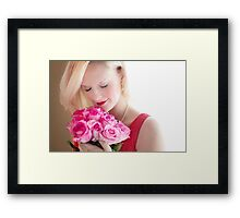 Beautiful Girl With Orchid Flowers Framed Print