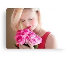 Beautiful Girl With Orchid Flowers Canvas Print