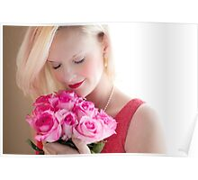 Beautiful Girl With Orchid Flowers Poster