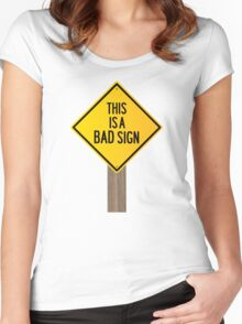 Bad Road Sign Women's Fitted Scoop T-Shirt