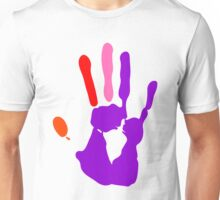 Whimsical Colorful Wet Paint Hand Print Unisex T-Shirt