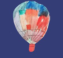 Watercolor and Pen and Ink Colorful Hot Air Balloon Womens Fitted T-Shirt