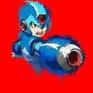 Megaman (Rockman) Splash Paint Design by scribbleworx