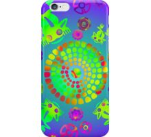 Aztec Pre-Colombian Psychedelic Lily Pond With Frogs iPhone Case/Skin