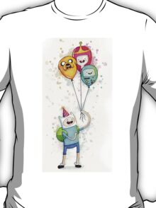 Finn with Birthday Balloons Jake Princess Bubblegum BMO T-Shirt
