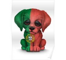 Cute Patriotic Portuguese Flag Puppy Dog Poster