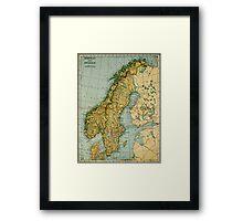 Vintage Map of Norway and Sweden (1921) Framed Print