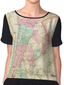 Vintage Map of Westchester New York (1864) Chiffon Top