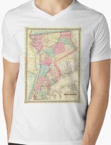 Vintage Map of Westchester New York (1864) Mens V-Neck T-Shirt
