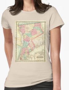 Vintage Map of Westchester New York (1864) Womens Fitted T-Shirt