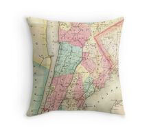 Vintage Map of Westchester New York (1864) Throw Pillow