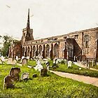 A digital painting of  St. Margaret's Church, Lowestoft, England by Dennis Melling