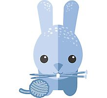 Cute bunny rabbit ball of yarn knitting needles Photographic Print