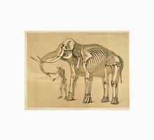 Vintage Elephant and Human Skeleton Illustration Unisex T-Shirt