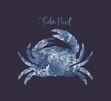 Sponge painted Crab Tide Pool habitat, delft blue crab, nautical art Unisex T-Shirt