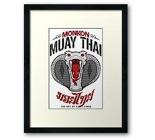 monkon muay thai cobra thailand martial art sport logo light or white shirt Framed Print