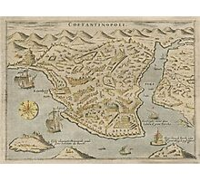 Vintage Pictorial Map of Constantinople (1620) Photographic Print