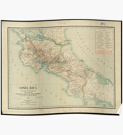 Vintage Map of Costa Rica (1903) Poster