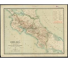 Vintage Map of Costa Rica (1903) Photographic Print