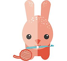 Cute bunny rabbit ball of yarn crochet hook Photographic Print
