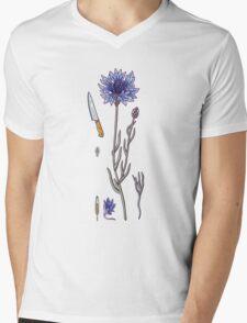 blue cornflower and knife Mens V-Neck T-Shirt