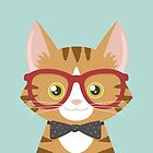 Orange Tabby Hipster Cat by Lisa Marie Robinson