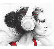 Beautiful Girl in Headphones Portrait Photographic Print