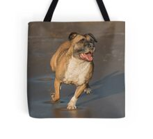 Staffordshire bull terrier running Tote Bag