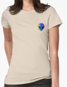 green, blue, and purple alien Womens Fitted T-Shirt