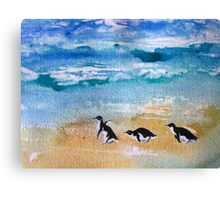 Three Little Penguins Out for a Stroll by Heather Holland Canvas Print
