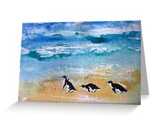 Three Little Penguins Out for a Stroll by Heather Holland Greeting Card