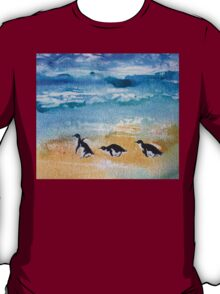Three Little Penguins Out for a Stroll by Heather Holland T-Shirt